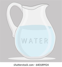 Vector illustration logo for set blue water in jug,background.Jug pattern consisting of glass pitcher filled waters,plastic package,natural product.Drink fresh raw organic liquid waters to jugs,bottle