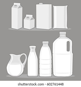 Vector illustration logo for set white milk in bottles,jug background.Jug pattern consisting of glass filled bottle lactic,dairy package,natural jugs.Drink fresh raw organic liquid milks to health.