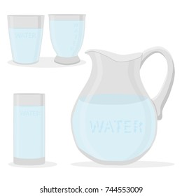 Vector illustration logo for set white water in glass, jug background. Jug pattern consisting of glasses filled lactic Water,dairy package,natural jugs.Drink fresh raw organic liquid waters to health.
