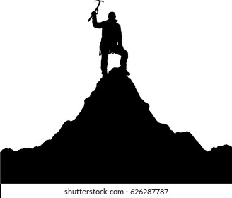 vector illustration logo silhouette of one climber with ice axe in hand on mount Ama Dablam  black silhouette on white background