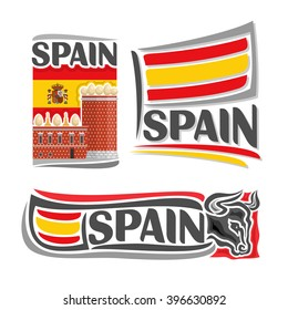 Vector illustration of the logo for Spain, 3 isolated illustrations: flag on the background of the Salvador Dalí Museum, symbol of Spain architecture and spanish national state flag, bull head