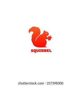 Vector illustration logo of squirrel isolated on a white backgrounds.