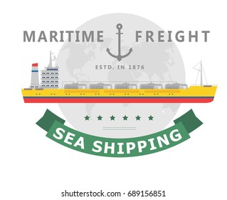 Vector illustration of logo and symbol of shipping by sea company, isolated on white background. Flat style. Design icons of tanker ship.