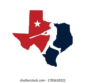 A vector illustration logo of Texas Baseball Team Championship Logo with map state of Texas with baseball player