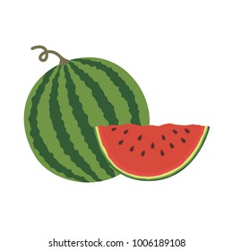 Vector illustration logo for whole ripe red fruit watermelon, green stem, cut half, sliced slice berry with red flesh. Watermelon pattern from natural sweet food.