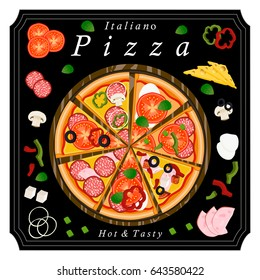 Vector illustration logo for whole round hot pizza, slice triangle from pizzeria menu. Pizza on wood board, ingredients for pizzeria to chalkboard, food in box. Tasty Italian pizza from pizzeria.