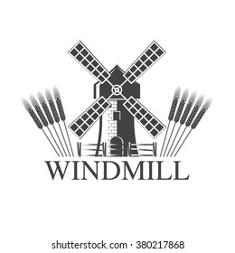 vector illustration logo windmill is isolated on a white background. Windmill Logo