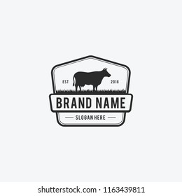 Vector Illustration logos and badges farm cow isolated or white background. Farm animals badges. - Vector