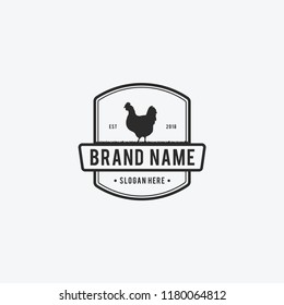 Vector Illustration logos and badges farm chicken isolated or white background. Farm animals badges