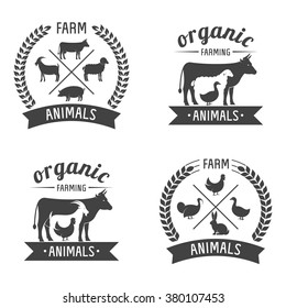 Vector Illustration logos and badges farm animals isolated or white background. Farm animals badges