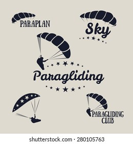 Vector illustration. Logos set paragliding, skydiver, sky, paraplan.