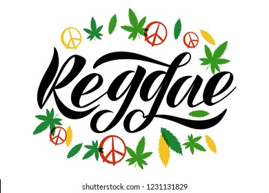Vector Illustration of logotype reggae. Lettering typography poster. Vector badges for reggae, with marijuana leaf and pacific . Calligraphy background. EPS 10