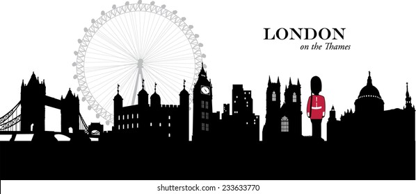 Vector illustration of the London, England, cityscape / skyline in silhouette