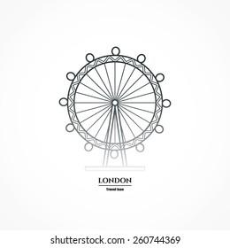 Vector Illustration of London Eye Entertaiment Icon Outline for Design, Website, Background, Banner. Travel Britain Landmark silhouette Element Template for Tourism Flayer