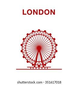 Vector illustration of London Eye, Line art. Famous London Landmarks