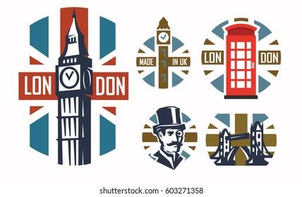 vector illustration of london flat retro set