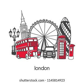 Vector illustration London with hand drawn cartoon doodle british symbols. Set of line elements for banner, card, poster, leaflet design. Simple minimalistic style with black outline and red elements.