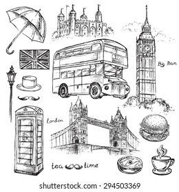 "The vector illustration ""London hand drawn collection"" for design"