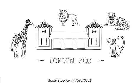 Vector illustration of London sights. London city symbol isolated on white background. London zoo in hand-drawn style. Cartoon giraffe, tiger, lion, monkey. Black and white animals.