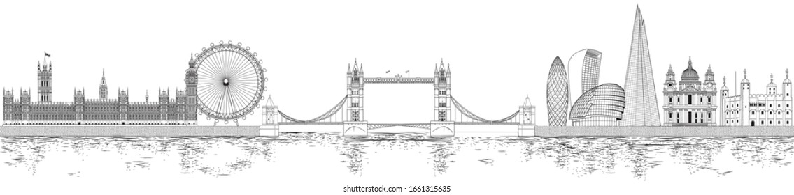 Vector illustration of London skyline in black and white sketch style