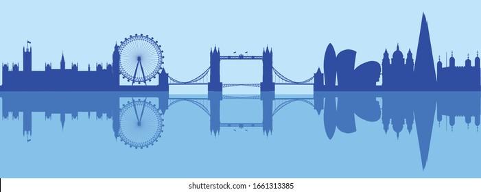 Vector illustration of London skyline silhouette
