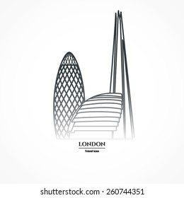 Vector Illustration of London Skyscraper Icon Outline for Design, Website, Background, Banner. Travel Britain logo Downtown Landmark Element Silhouette Template for Tourism Flayer