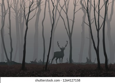 Vector illustration of a lonely deer in a misty forest among silhouettes of leafless trees