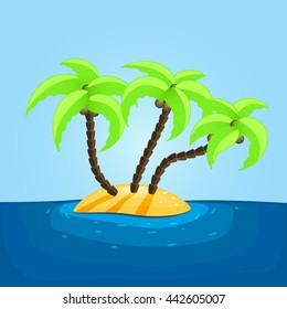 Vector illustration of the lonely small island with 3 palms.
