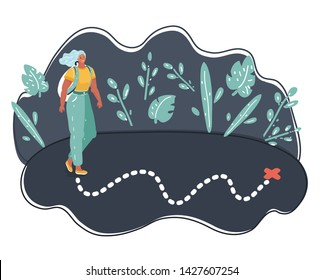Vector illustration of Lonely woman walking alone on route. Location map. Dark background.