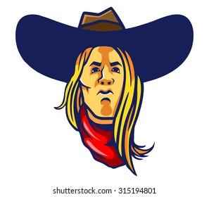 vector illustration of long hair cowboy