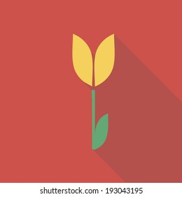 Vector illustration long shadow flat icon of tulip flower