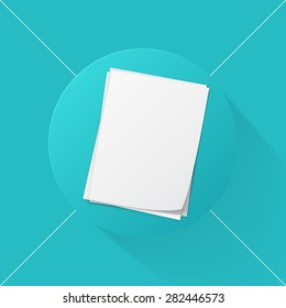 Vector illustration long shadow flat icon of stack of papers