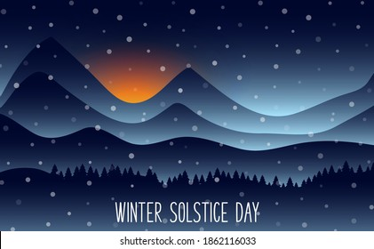 Vector illustration of The longest night in the year. Winter solstice day in December the 21. Greeting card design template. The dark sky with sunset or sunrise