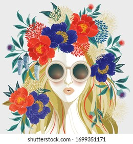 Vector illustration of a long-haired girl with floral headdress. Design for picture frame, poster, greeting card, and invitation