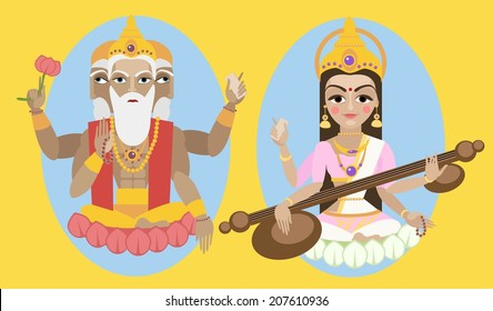 vector illustration lord Brahma and Sarasvati devi