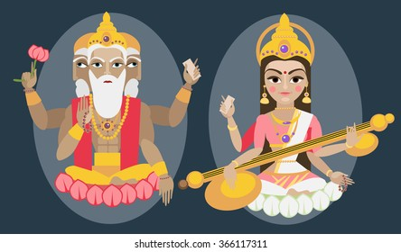 vector illustration lord Brahma and Sarasvati devi Traditional Hindu deitys