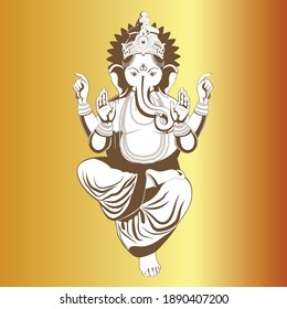 Vector illustration of Lord Ganapati for Happy Ganesh Chaturthi festival indian religious banner on gold background.