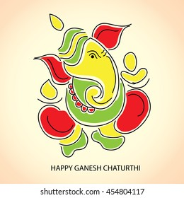 Vector illustration of a Lord Ganesh for Happy Ganesh Chaturthi.