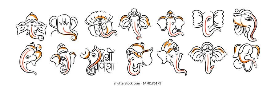 vector illustration of Lord Ganpati on Ganesh Chaturthi, hindi calligraphy with ganesh head, background