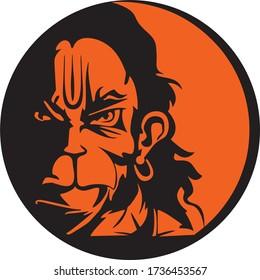 Vector Illustration of Lord Hanuman Face