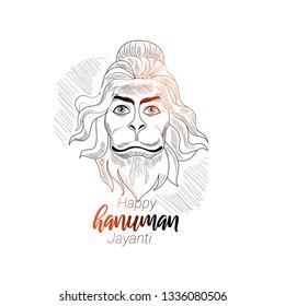 vector illustration Lord Hanuman, Indian god, happy hanuman jayanti
