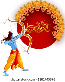 vector illustration of Lord Rama killing Ravana in Happy Navratri festival of India with Hindi word meaning Dussehra