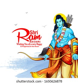 vector illustration of Lord Rama with message in hindi  Shri Ram Navami with Bow & Arrow white background