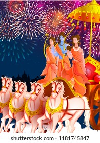 vector illustration of Lord Rama, Sita and Laxmana blessing for Happy Dussehra festival of India