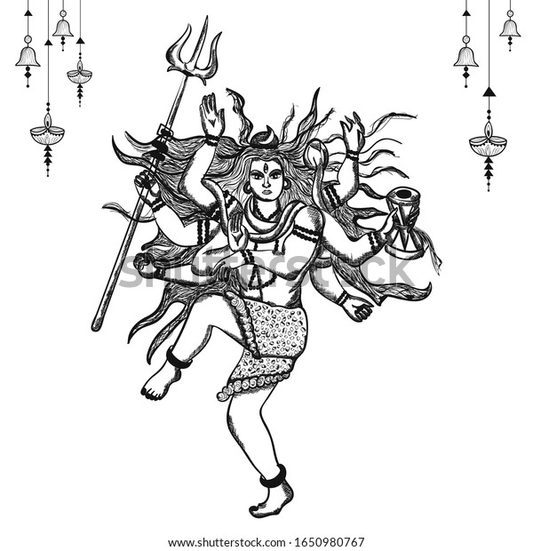 Vector Illustration Lord Shiva Sketch Lord Stock Vector Royalty