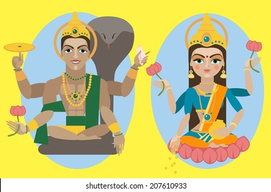vector illustration lord Vishnu and mata Lakshmi
