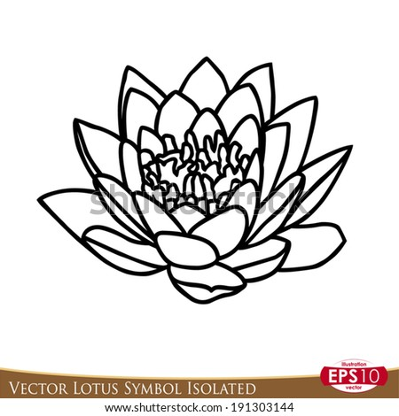 Vector illustration lotus flower isolated on stock vector royalty vector illustration of lotus flower isolated on white background draw in symbolic style with black mightylinksfo