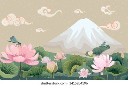 Vector illustration with lotuses and mountain