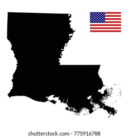 vector illustration of Louisiana map with American flag