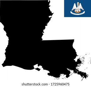 vector illustration of Louisiana map with flag